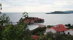 """View of the island """"Sveti Stefan"""", Montenegro. tracking shot Stock Footage"""