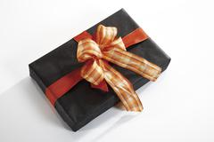 Gift parcel, elevated view - stock photo