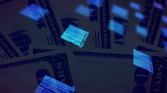 Bar codes and money looping animated background - stock footage