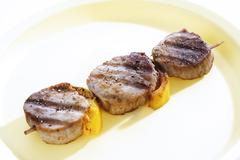 Grilled pork filet and vegetables Stock Photos