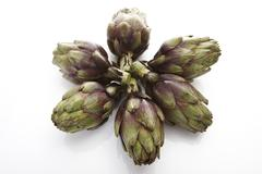 Artichokes, elevated view Stock Photos