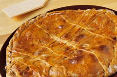 empanada gallega, savory stuffed cake typical of galicia, spain - stock photo