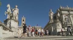 Piazza del Campidoglio steps, Rome 7 (Slomo dolly) Stock Footage