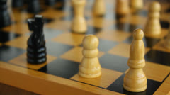 Wooden chessboard with pieces, chess, focus shift Stock Footage