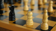 Stock Video Footage of Wooden chessboard with pieces, chess, focus shift