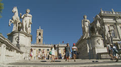 Piazza del Campidoglio steps, Rome 8 (Slomo dolly) Stock Footage