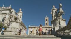 Piazza del Campidoglio steps, Rome 11 (Slomo dolly) babe Stock Footage