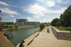Germany, Berlin, Chancellery seen from Spree river - stock photo
