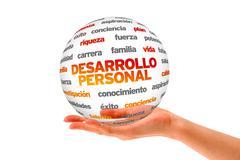 personal development word sphere (in spanish) - stock illustration