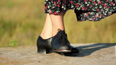 Girl dancing step, step dancer (feet close-up) Stock Footage