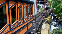 Angels Flight Incline Railway Going Down- Los Angeles Stock Footage