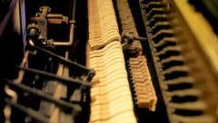 Piano inner mechanism rack focus audio Stock Footage