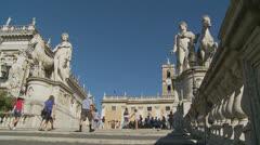 Piazza del Campidoglio steps, Rome 14 (Slomo dolly) Stock Footage