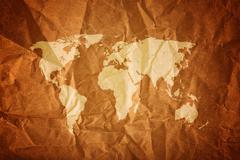 World map on wood background Stock Photos