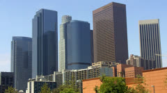 High Rise Skyscraper Office Buildings Of Downtown Los Angeles Stock Footage