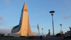 Hallgrímskirkja at magic hour - stock footage