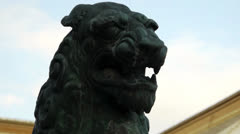 Guardian Dog Statue at Japanese Shrine Zoom Out Stock Footage