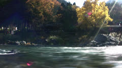 River Current in Fall in Japan Time Lapse Stock Footage