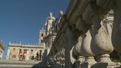 Piazza del Campidoglio steps, Rome 16 (Slomo dolly) Stock Footage
