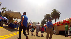 Hispanic Father And Children At Fair In MacArthur Park- Los Angeles Stock Footage