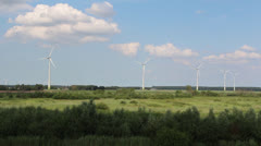 Wind turbines in a nature reserve Stock Footage