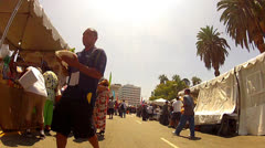 Walking Through Hispanic Street Fair- MacArthur Park- Los Angeles Stock Footage