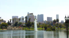 MacArthur Park Lake With Downtown Los Angeles In Background Stock Footage