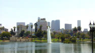 Stock Video Footage of MacArthur Park Lake With Downtown Los Angeles In Background