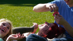 Friends Playing In The Park, Throwing Flower Petals At Each Other Stock Footage