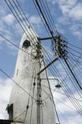 Africa, Kenia, Mombasa, Power line mast Stock Photos
