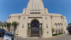 Wide Angle Historic Park Plaza Hotel In Los Angeles Stock Footage