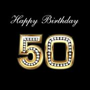 Happy Birthday 50th - stock illustration