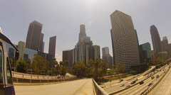 Downtown Los Angeles Skyscraper Buildings With Traffic In Foreground Stock Footage