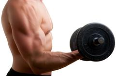 standing bicep dumbbell curl - stock photo