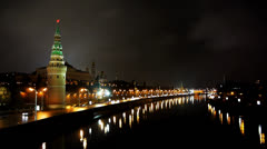 HD720p50 Kremlin and Moskva river by night. Part 4. Stock Footage