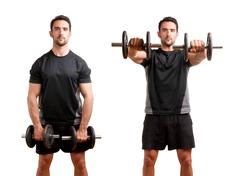 man working out with dumbbels - stock photo