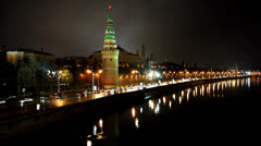 HD720p50 Kremlin and Moskva river by night. Part 3. Stock Footage