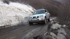 Four wheel drive on dirt road in Georgia, South Caucasus Stock Footage