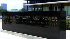 Close Up  Department Of Water And Power Sign And Building - Los Angeles Stock Footage