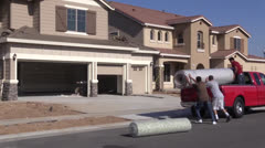 New Home Construction, carpet rugs Stock Footage