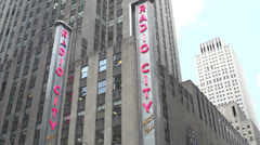 Radio City Music Hall Tilt down to street Stock Footage