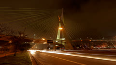 Ponte Estaiada bridge built over the Pinheiros River in the city of Sao Paulo - stock footage