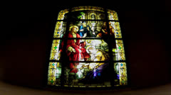 Stained Glass Window At Catholic Church Stock Footage