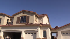 New Home Construction, tile roof Stock Footage