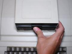 "Old 5¼"" Floppy Disk Drive NTSC Stock Footage"