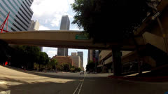 POV Riding Bicycle Through Downtown Urban Streets - Los Angeles Stock Footage