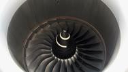 Giant aircraft turbine Stock Footage