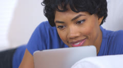Close up of African American woman using laptop computer - stock footage