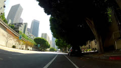 POV Riding Bicycle In Downtown Los Angeles Bike Lane Stock Footage