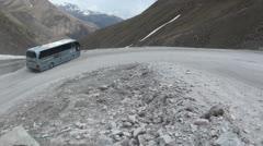 Mountain pass, passenger bus, Georgia, South Caucasus Stock Footage